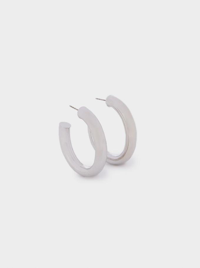 Medium Silver-Plated Earrings, Silver, hi-res
