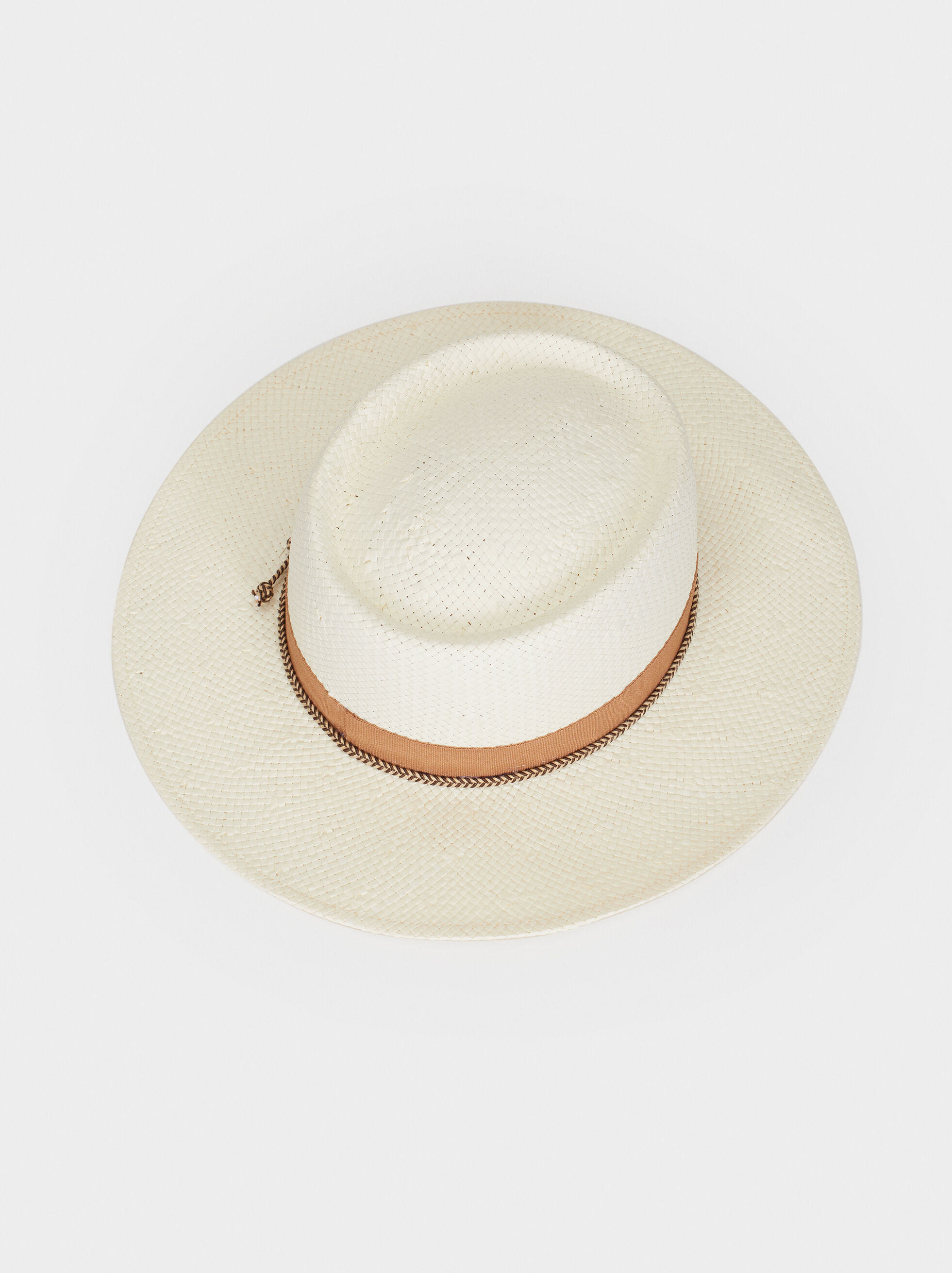 Straw Finish Hat With Cord Detail, Ecru, hi-res