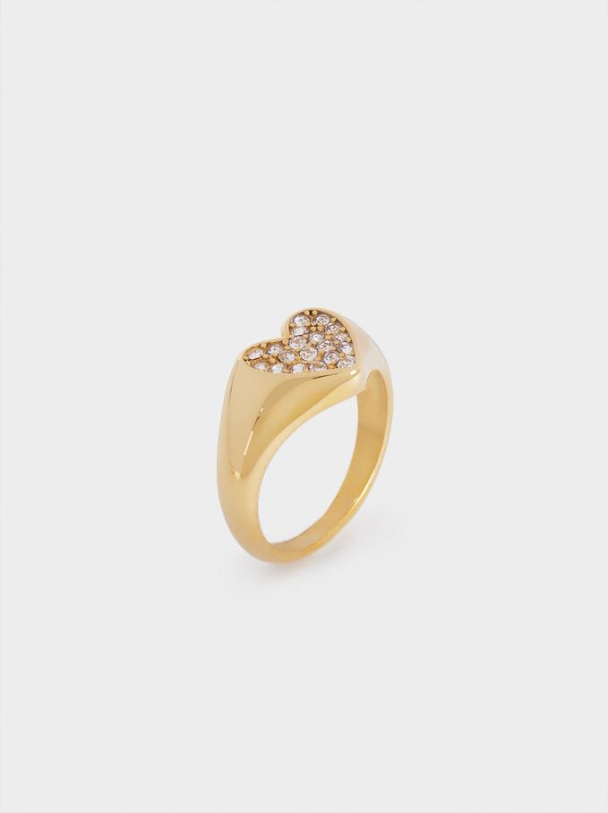 Pinky Finger Stainless Steel Signet Heart Ring, Golden, hi-res