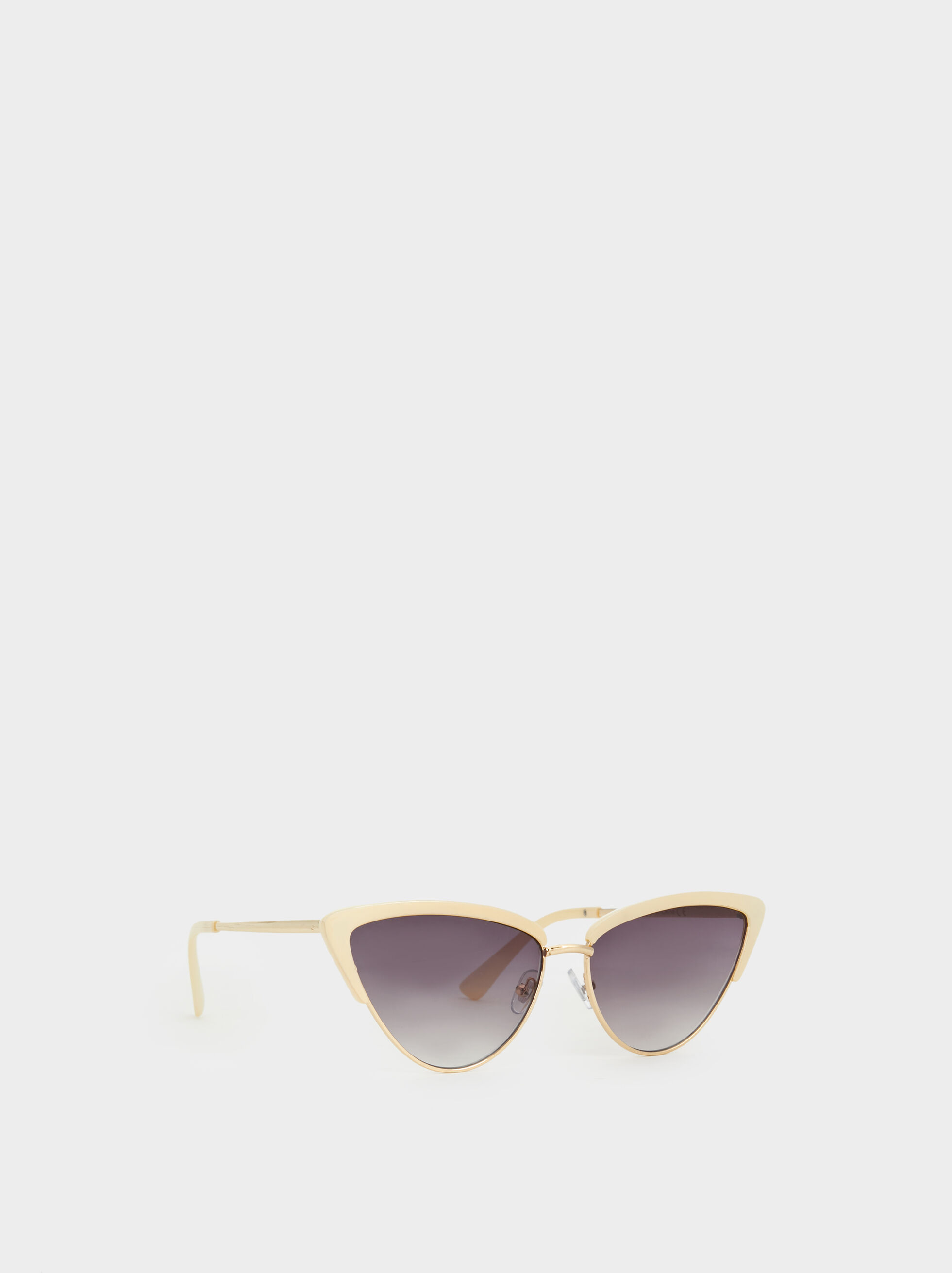 Cateye Sunglasses, White, hi-res