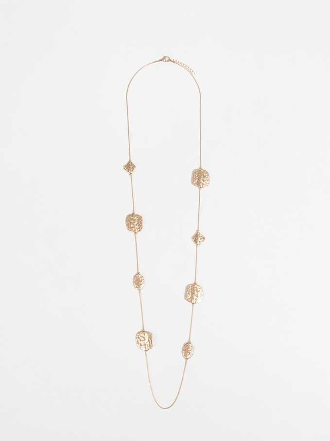 Long Beaded Necklace, Golden, hi-res