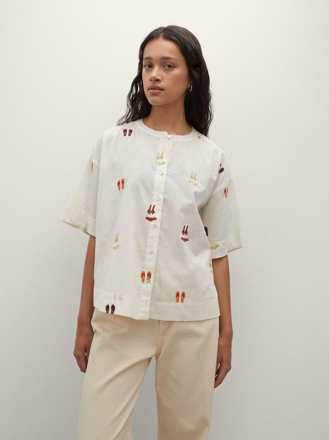 Hemd Aus 100 % Baumwolle Mit Stickerei, Ekrü, hi-res