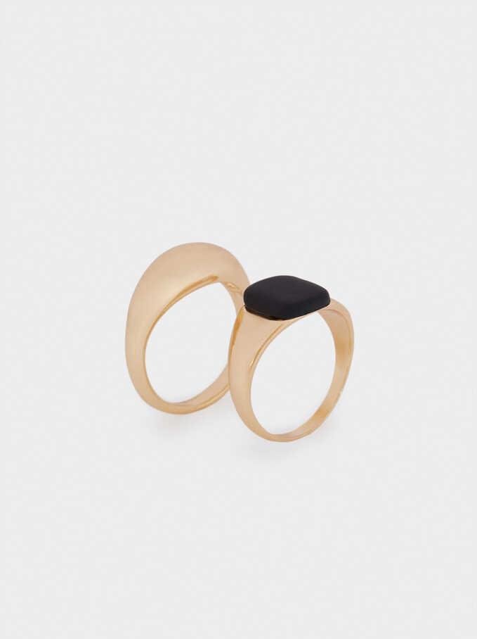 Set Of Signet Rings, Black, hi-res