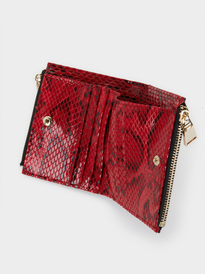 Faux Snakeskin Scarlet Coin Purse, Red, hi-res
