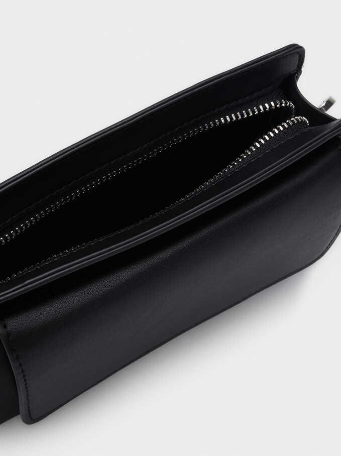 Crossbody Belt Bag With Front Flap Closure, Black, hi-res
