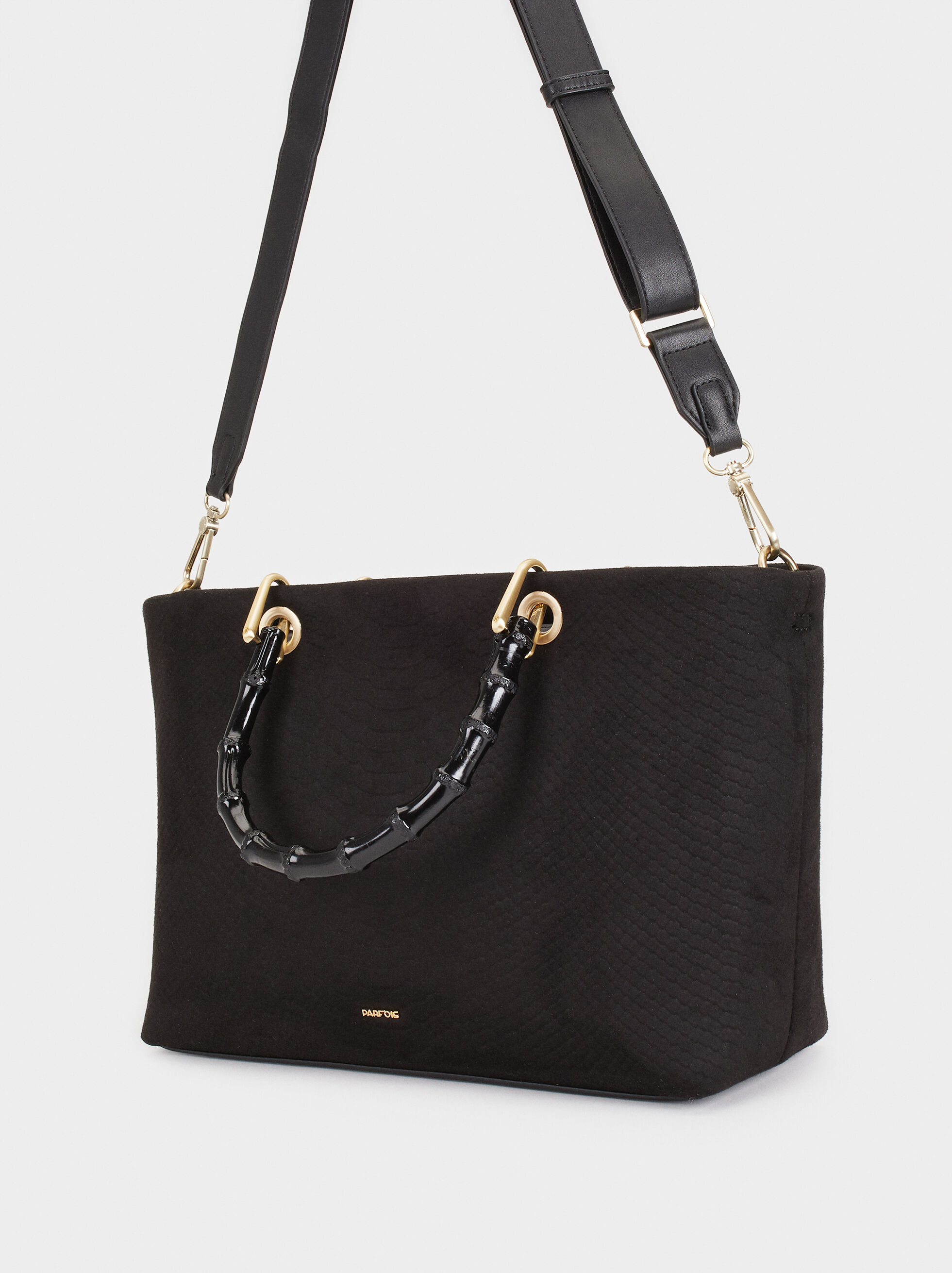 Tote Bag With Bamboo Handle, Black, hi-res