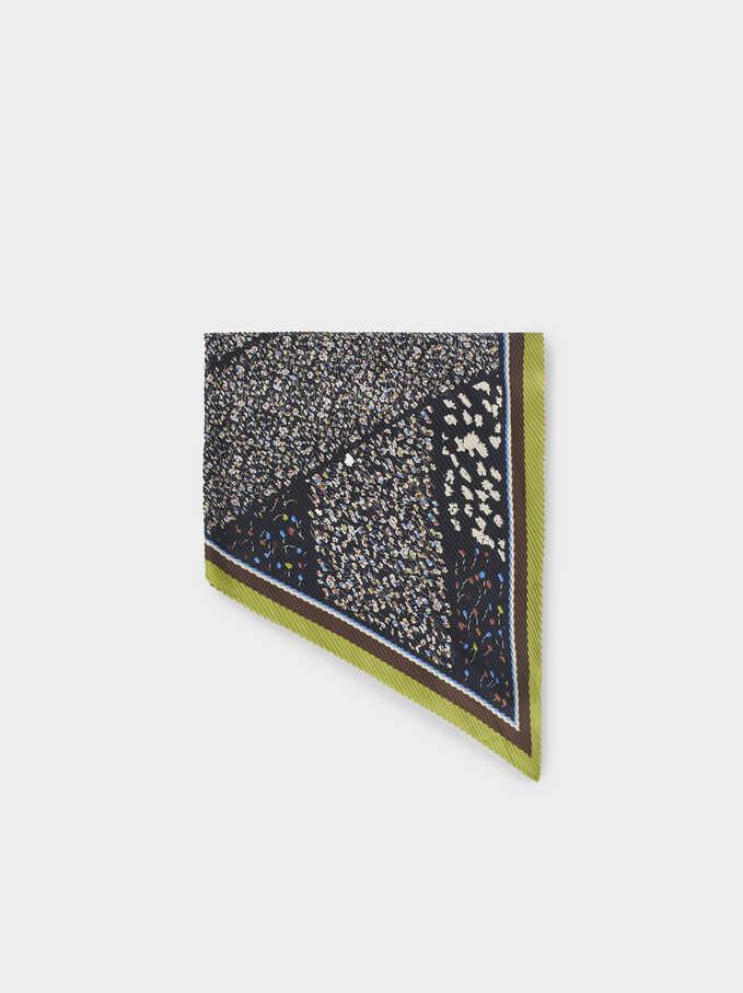 Pañuelo Cuadrado Estampado Floral, Negro, hi-res