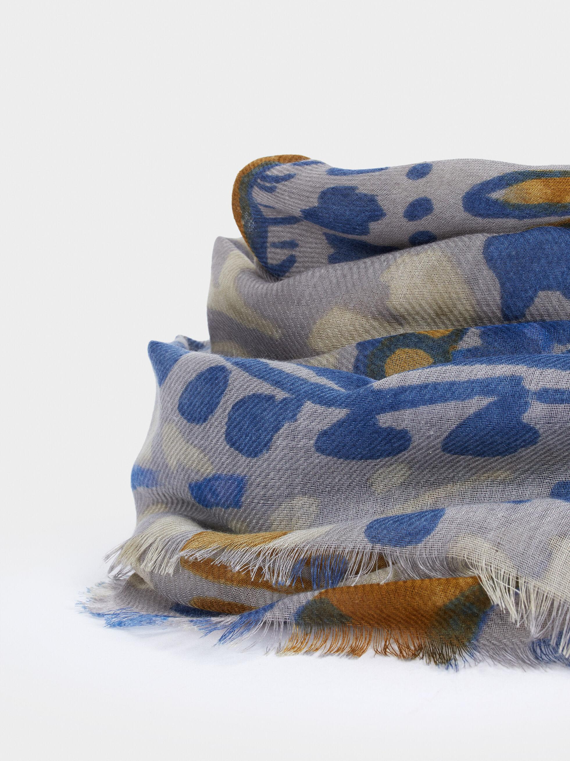 Paisley Print Scarf, Blue, hi-res