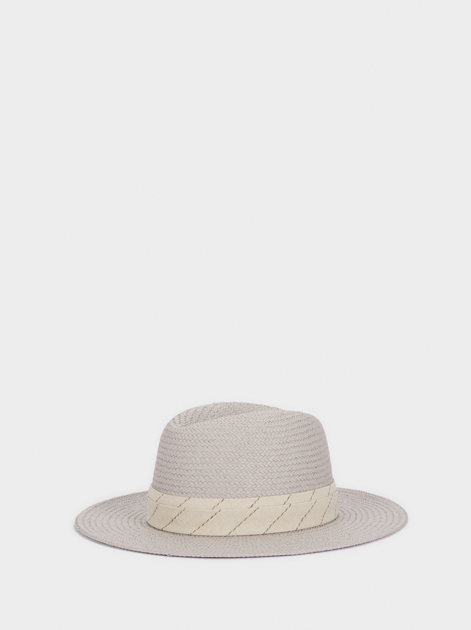 Woven Hat With Contrast Band, Grey, hi-res