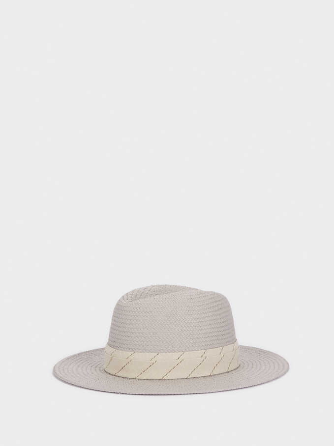 Textured Straw Hat With Contrast Band, Grey, hi-res
