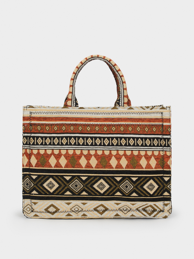 Multicoloured Tote Bag, Beige, hi-res