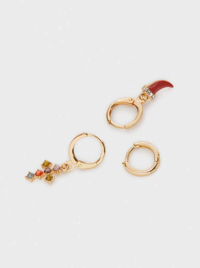 Earrings With  Charms And Crystals, Multicolor, hi-res