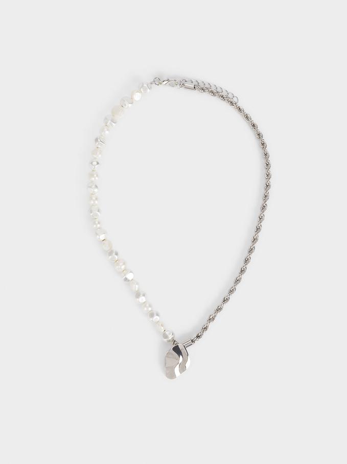 Collar Corto Combinado Con Perlas, Plateado, hi-res