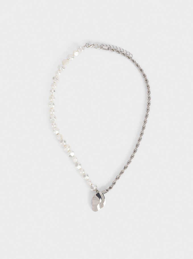 Short Necklace With Pearls, Silver, hi-res