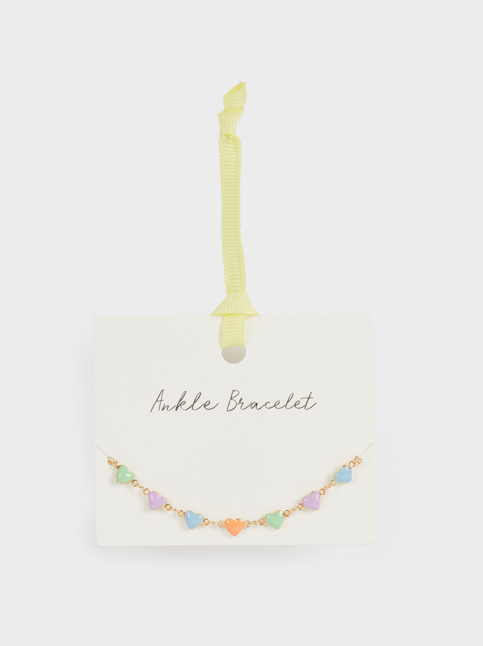 Anklet With Hearts, Multicolor, hi-res