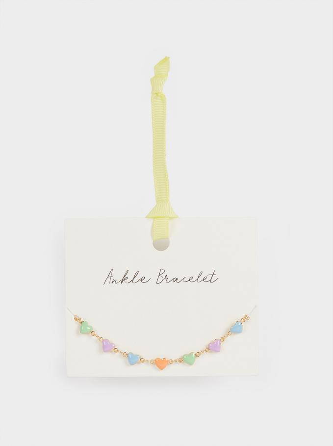 Bracelet De Cheville Cœurs, Multicolore, hi-res