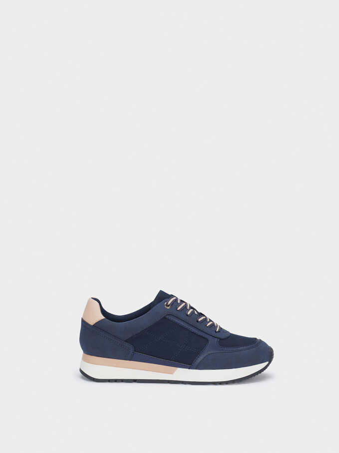 Contrast Sneakers, Navy, hi-res