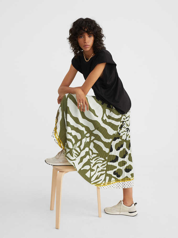 Animal Print Skirt, Green, hi-res