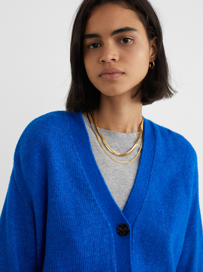 Knitted Cardigan With Buttons, Blue, hi-res