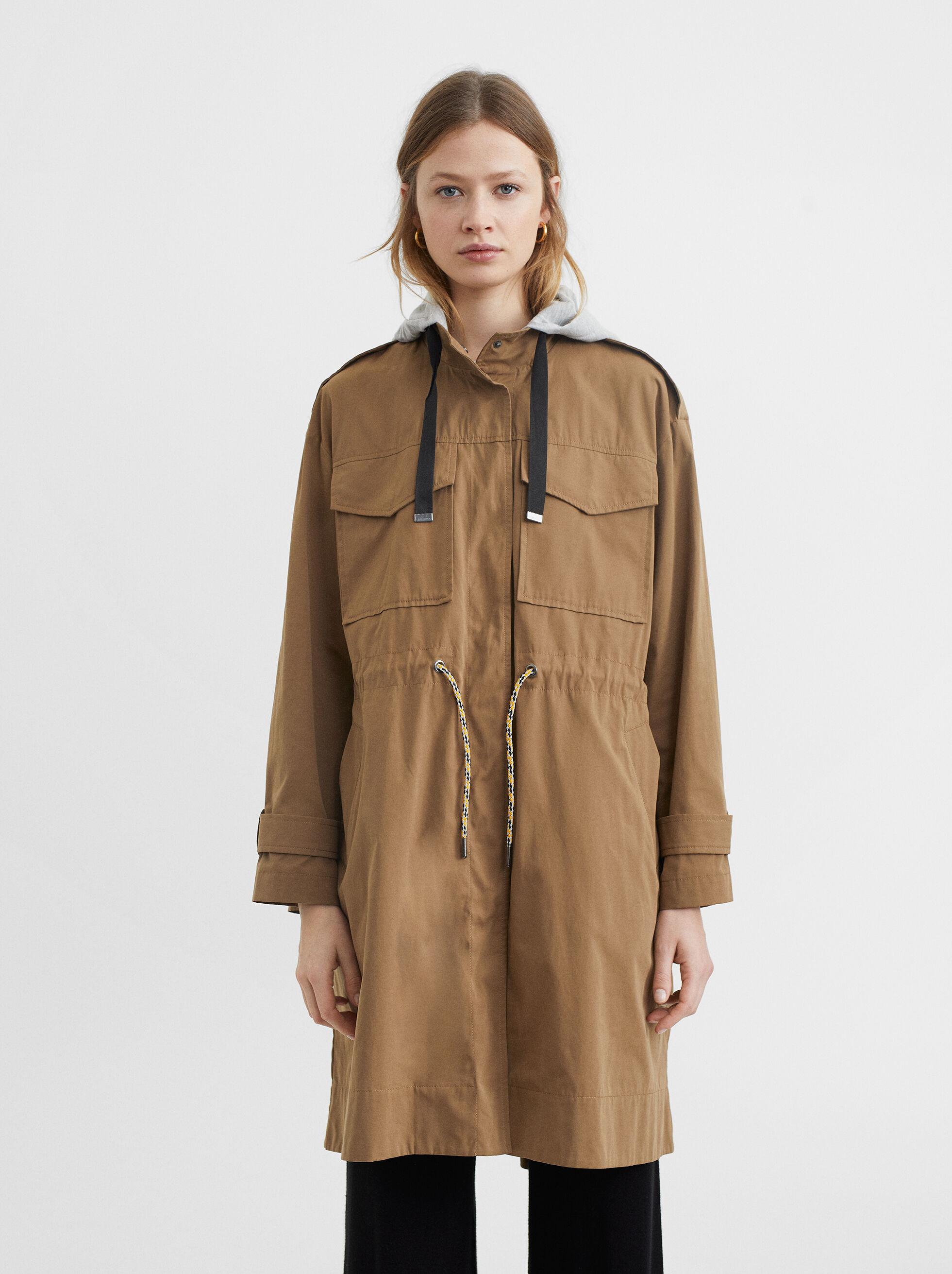 Jacket With Adjustable Waist, Brown, hi-res
