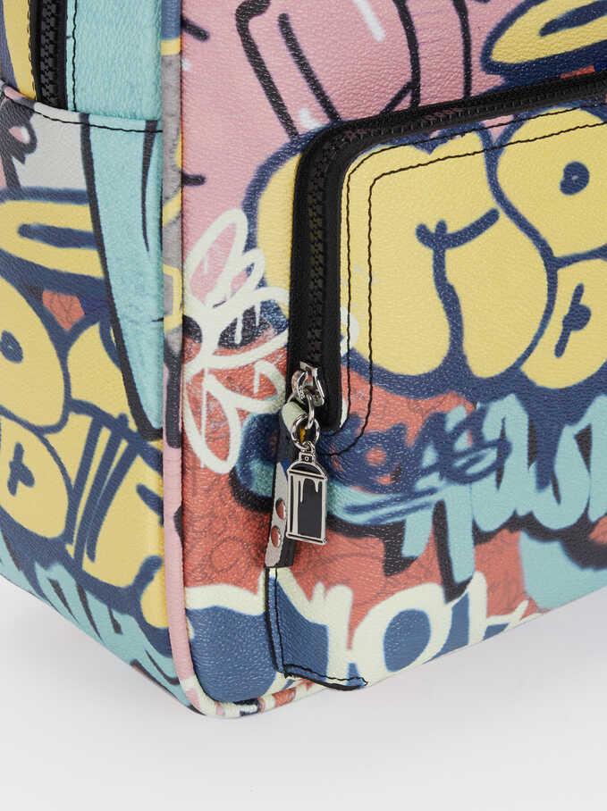 Graffiti Print Backpack, Black, hi-res