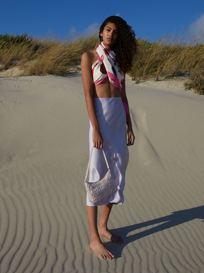 Satin Square Neckerchief Made From Recycled Materials, Pink, hi-res