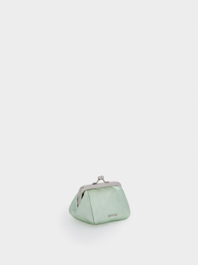 Purse With Clasp Fastening, Green, hi-res