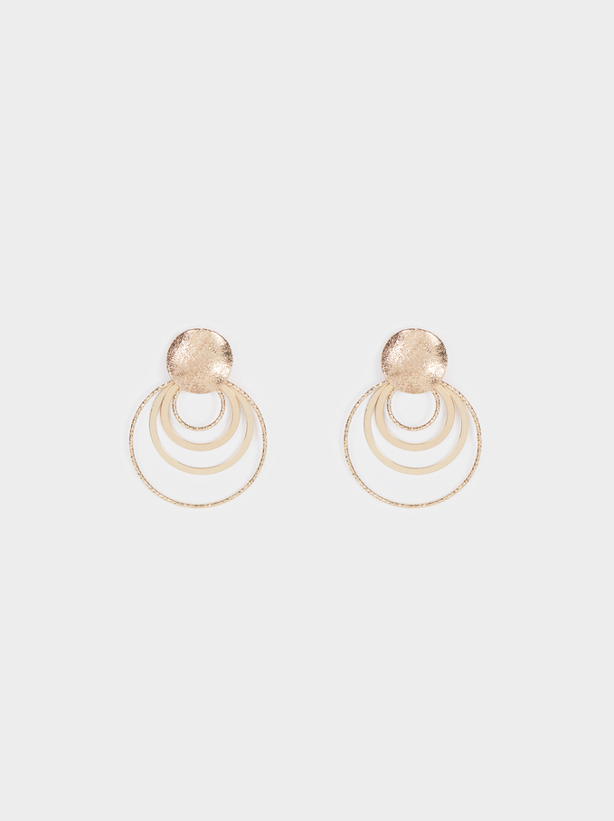 Geometric Earrings, Golden, hi-res