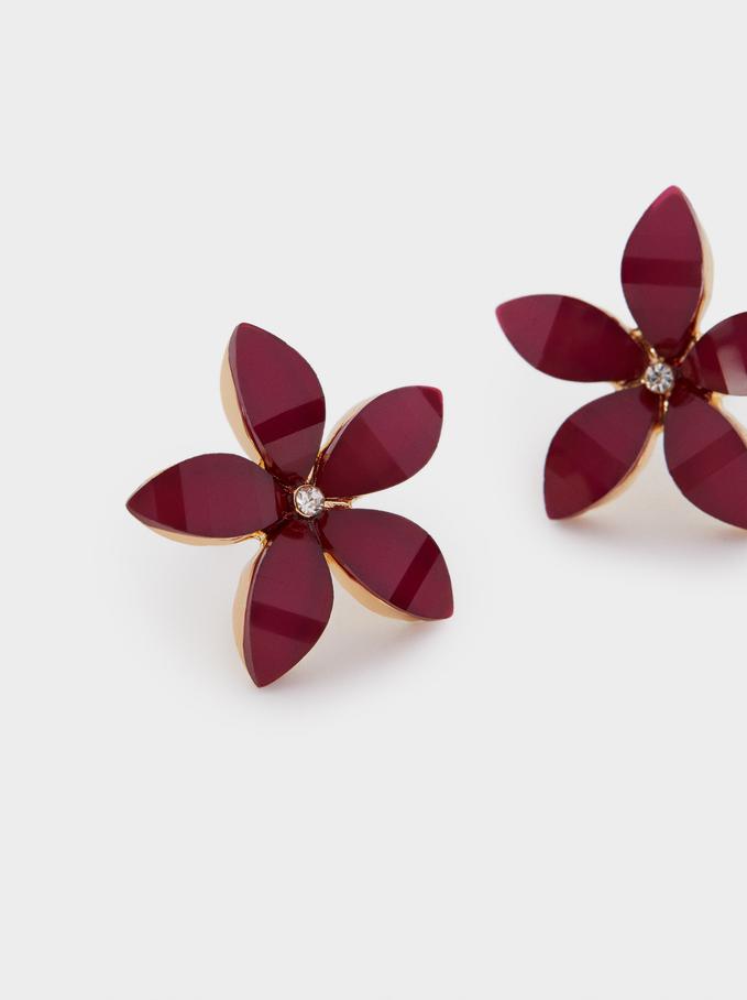 Boucles D'Oreilles Courtes Fleur Avec Cristaux, Rouge, hi-res