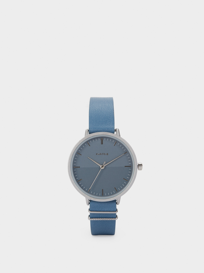 Watch With Round Face, Blue, hi-res