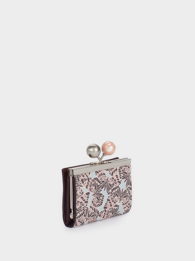 Printed Card Holder With Clasp Closure, Pink, hi-res