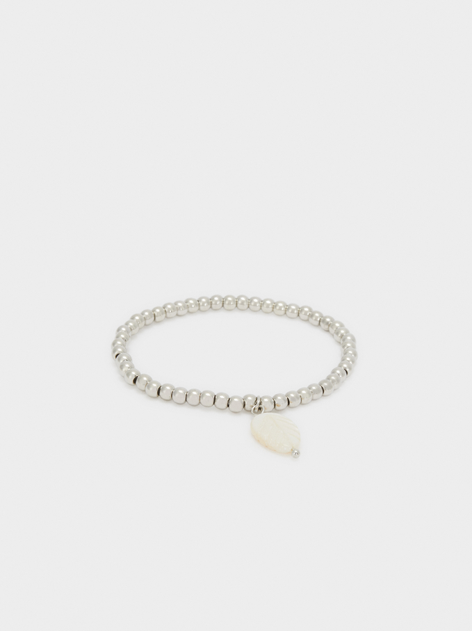 Gold Elastic Bracelet With Leaf, Silver, hi-res