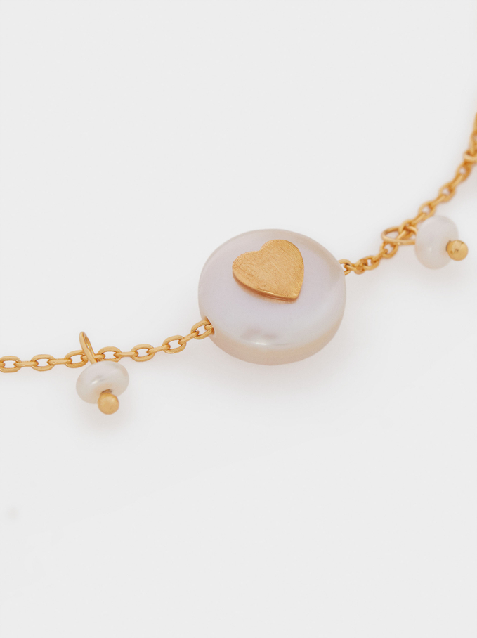 Adjustable 925 Silver Bracelet With Pearl And Heart, Beige, hi-res