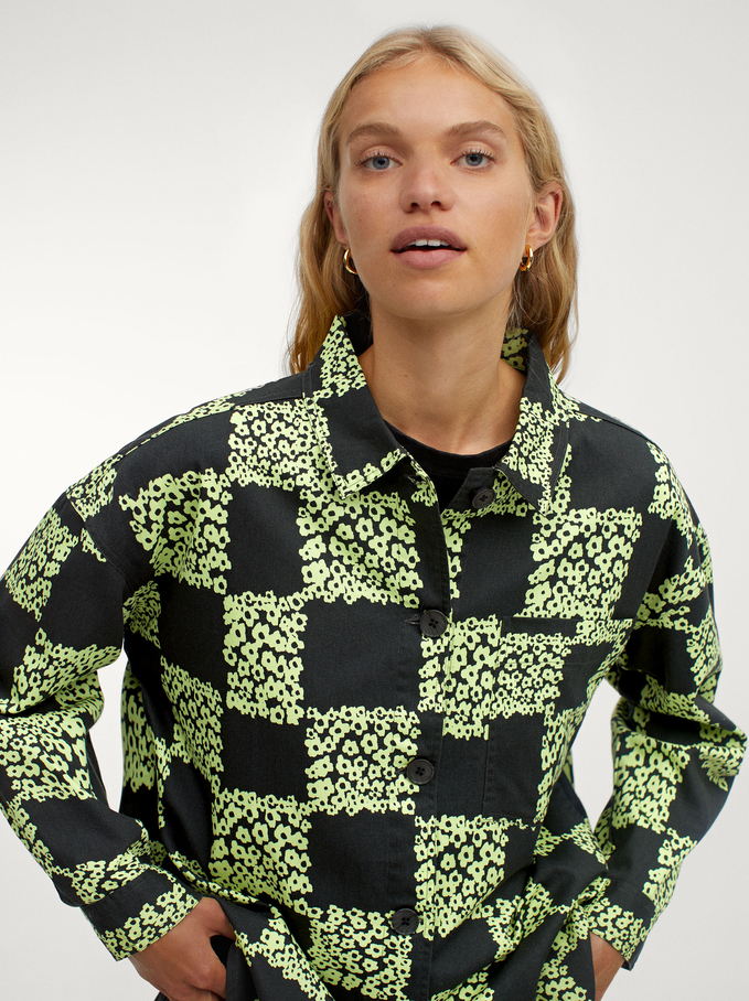 100% Cotton Printed Shirt, Green, hi-res