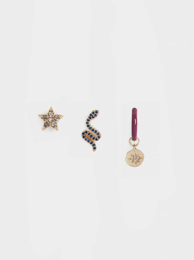 Conjunto De Aros Charms Y Cristales, Dorado, hi-res