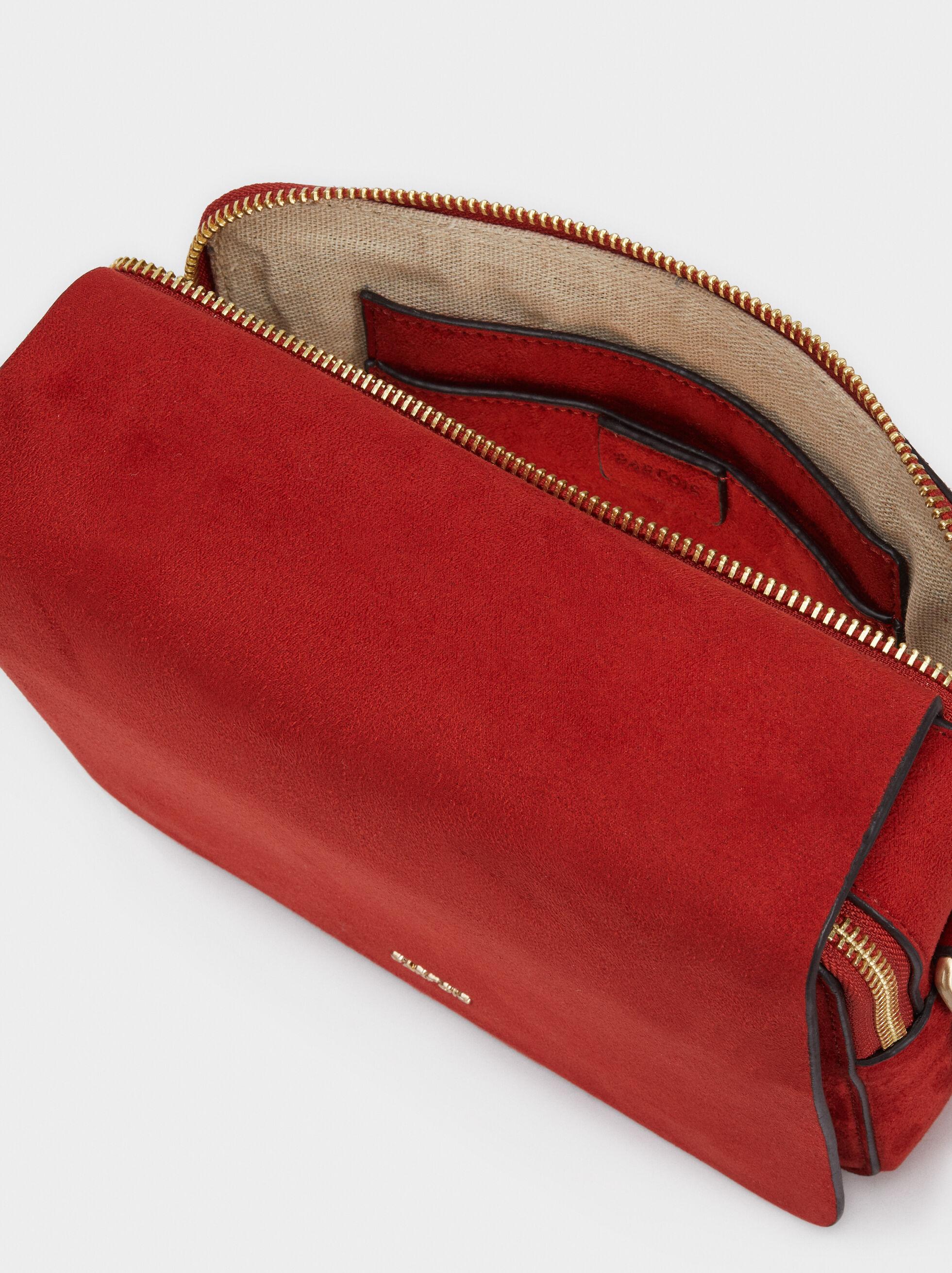 Adjustable Textured Suede Crossbody Bag, Brick Red, hi-res