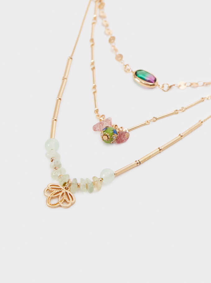 Set Of Gold Necklaces With Stones, Multicolor, hi-res