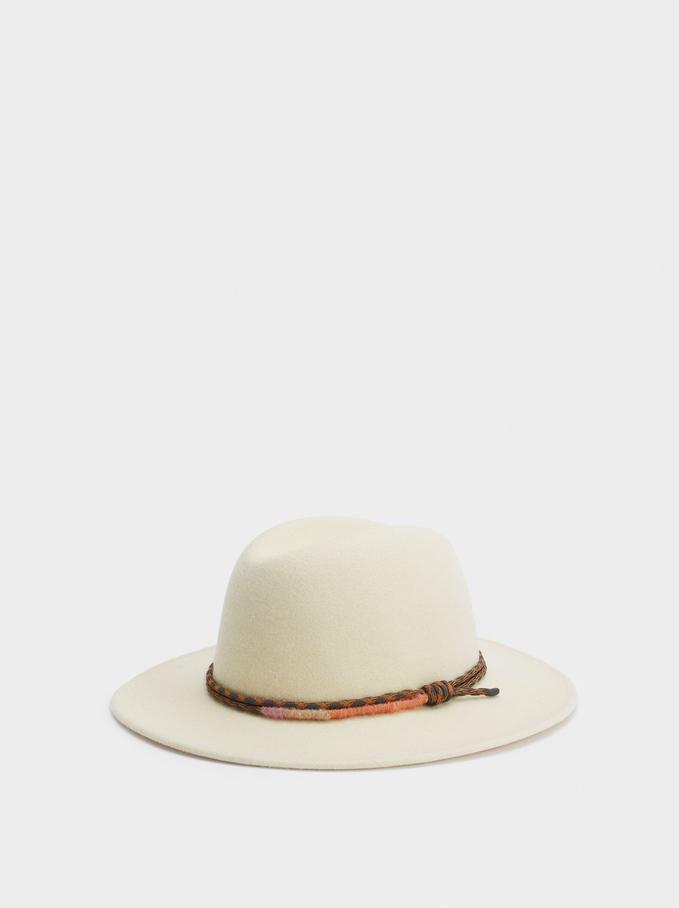 Woollen Hat With Contrast Band, Ecru, hi-res
