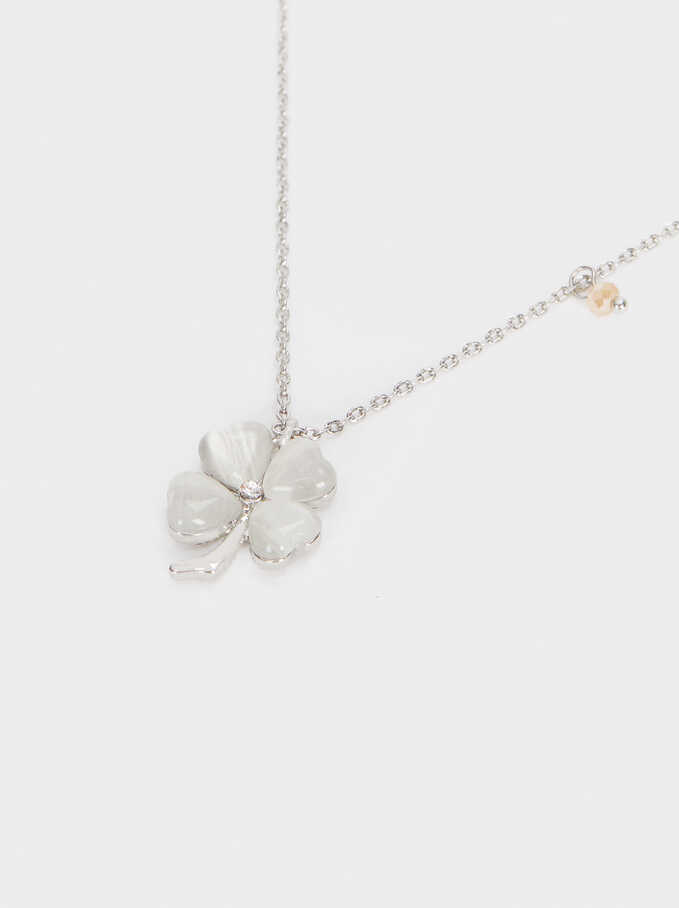 Short Necklace With Clover, Silver, hi-res