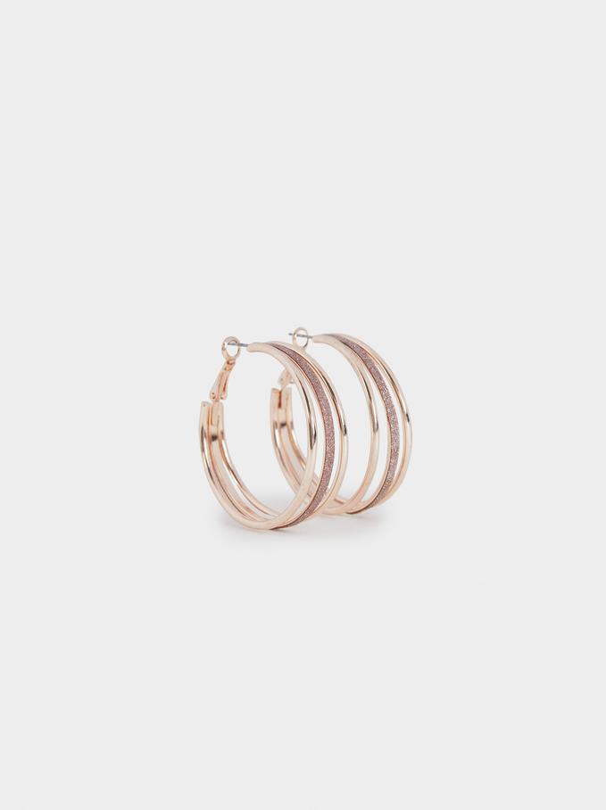 Pink Desert Medium Hoop Earrings, Orange, hi-res