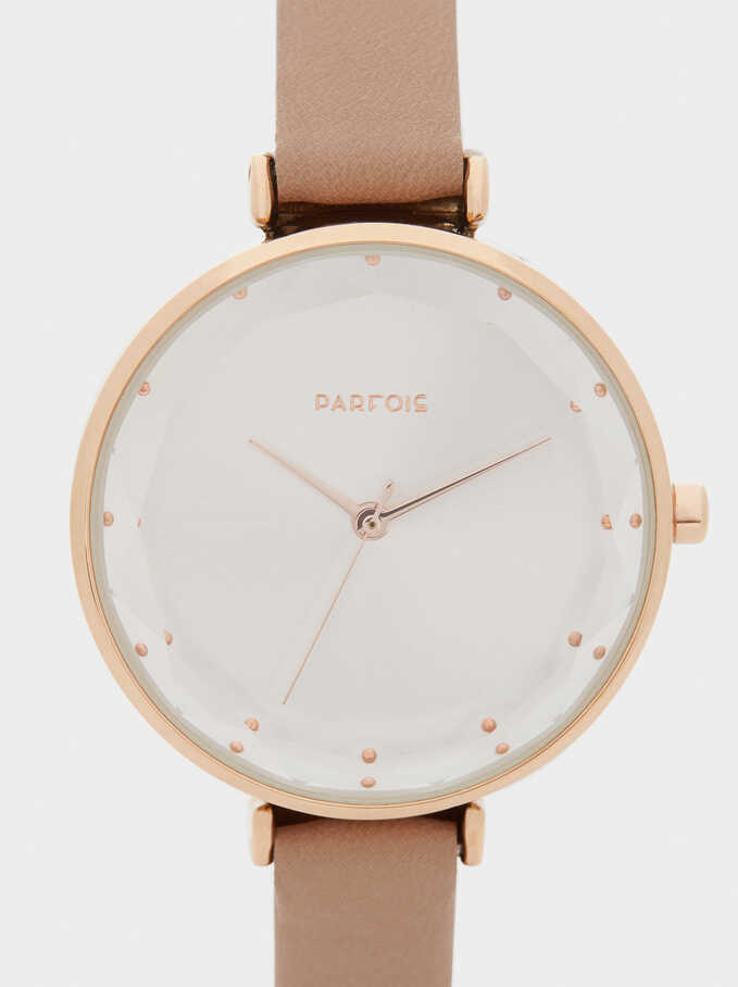 Rose Gold Metallic Watch, Beige, hi-res