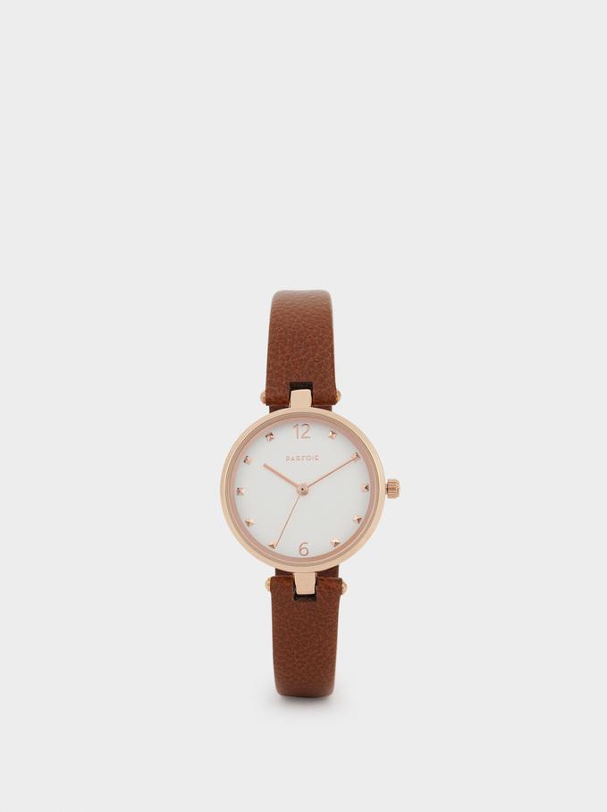 Rose Gold Metallic Watch, Brown, hi-res
