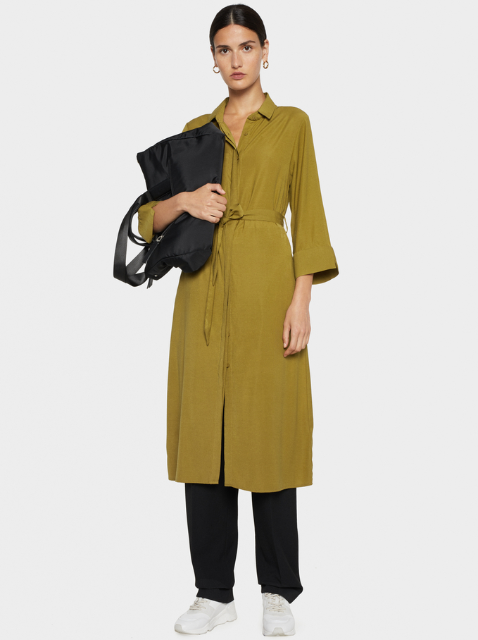 Shirt-Dress With Belt, Mustard, hi-res