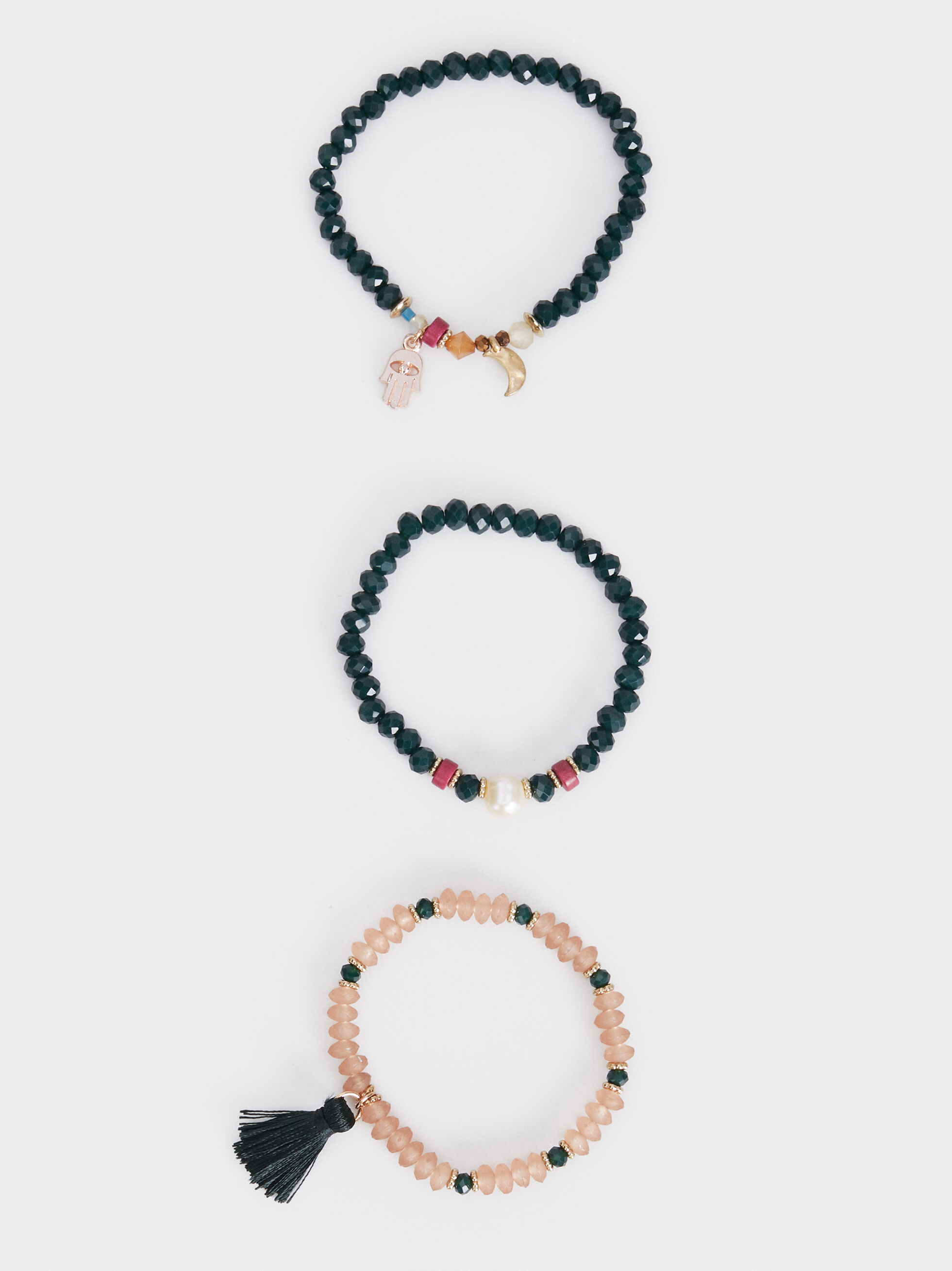 Set Of New Age Elastic Bracelets With Beads, Multicolor, hi-res