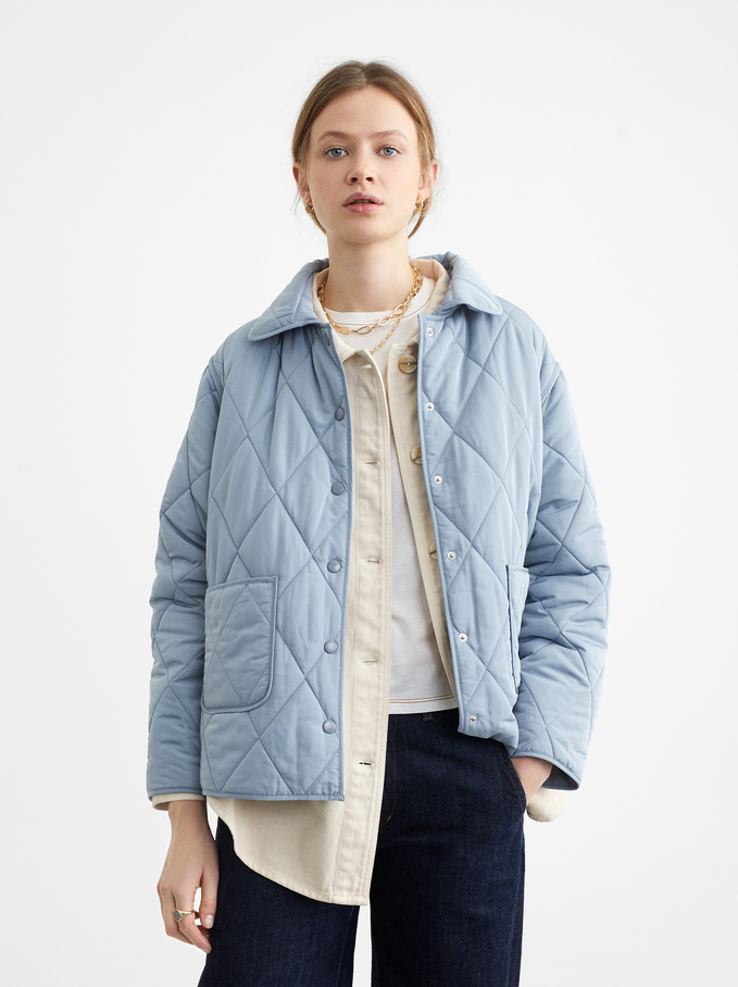 Quilted Jacket With Pockets, Blue, hi-res