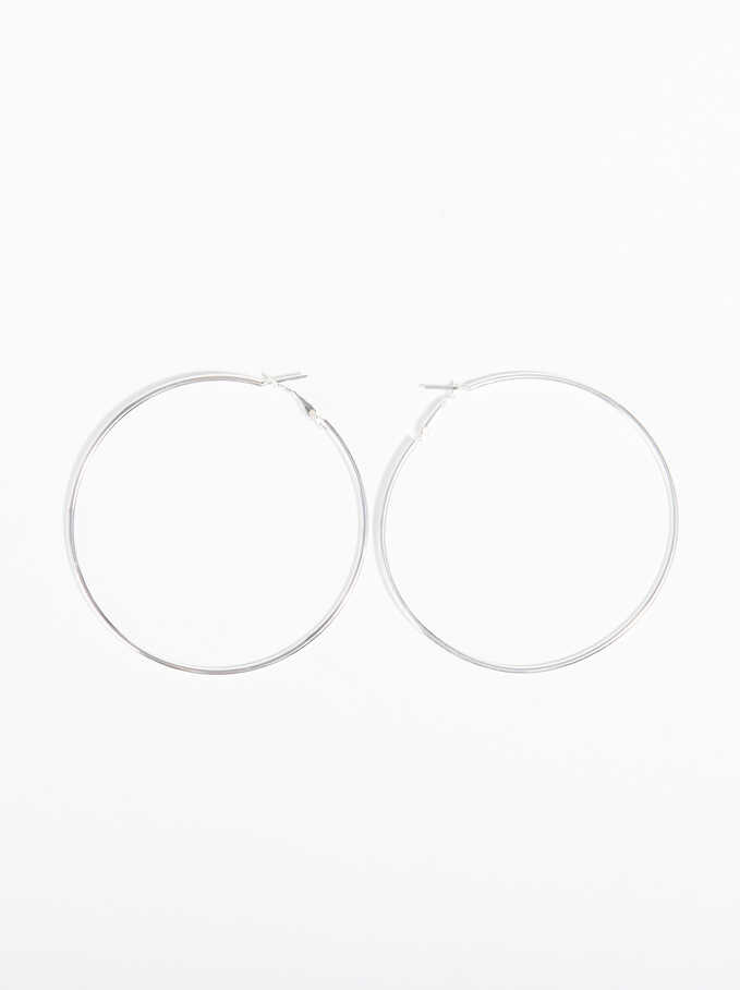 Basic Large Hoop-Earrings, Silver, hi-res
