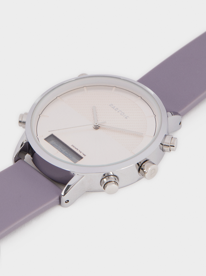 Digital Watch With Silicone Wristband, Violet, hi-res