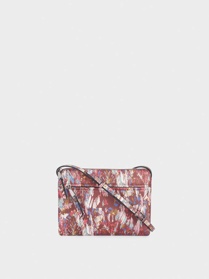 Printed Crossbody Bag, Bordeaux, hi-res