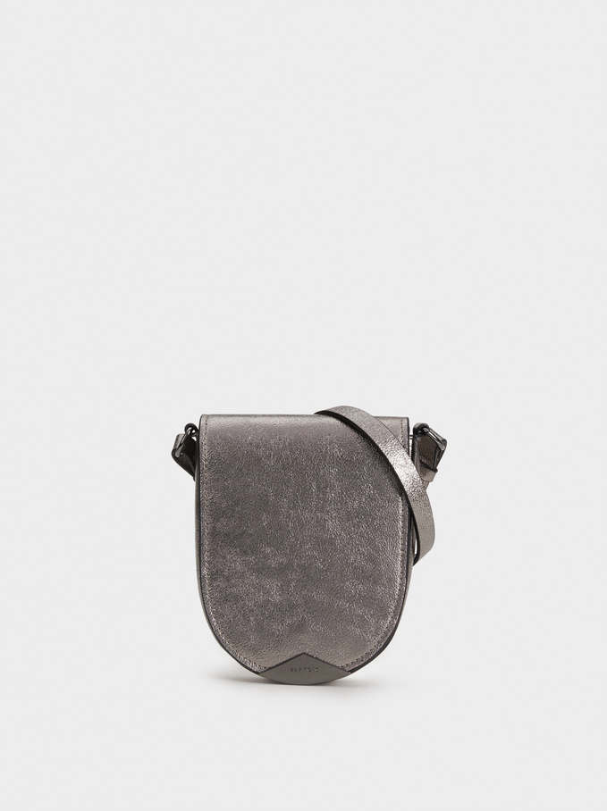 Metallic Crossbody Belt Bag, Silver, hi-res