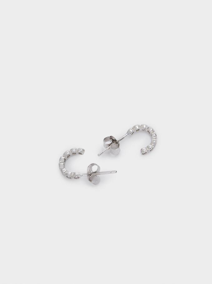 Short 925 Silver Hoops With Zirconia, Silver, hi-res